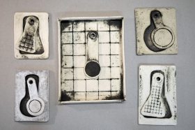 Gridded Tray with Spoon, Four Contained Implements