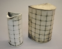 One small Gridded Pot, One Large Gridded Pot with Lid