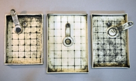 Three Gridded Trays with Spoons