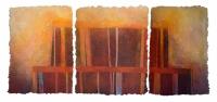 'STRUCTURE 3', 74 x 177cms. Cellulose fibre, acrylic paint, wax, £1,750