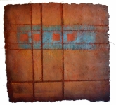 'JOURNEY', 91 x 95cms. Cellulose fibre, acrylic paint, wax, linen thread, £1,350
