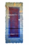 'OPEN', 148 x 59cms. Cellulose fibre, acrylic paint, wax, linen thread, £1,550