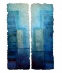 'QUIET WAY', 131 x 82cms. Cellulose fibre, acrylic paint, wax, linen thread, £1,450