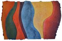 'TIDE 1', 45 x 68cms, Cellulose fibre, acrylic paint, wax., £490